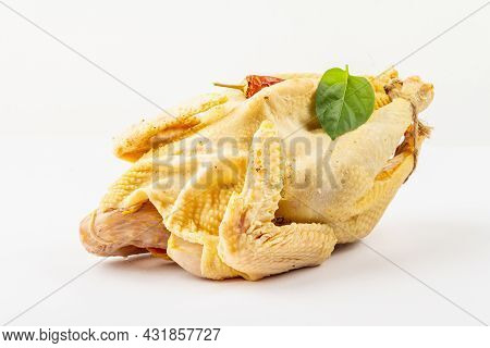 Whole Free-range Chicken Poultry Isolated On White Background