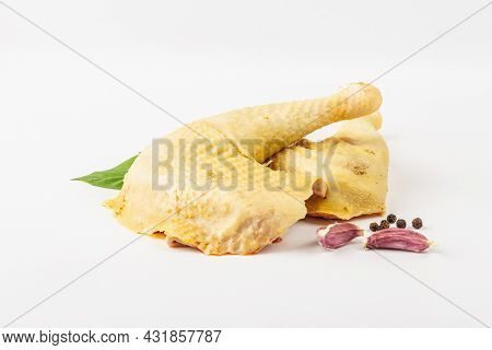 Raw Chicken Legs Isolated On White Background. Free-range Poultry, Organic Farm Food