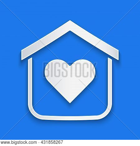 Paper Cut Shelter For Homeless Icon Isolated On Blue Background. Emergency Housing, Temporary Reside