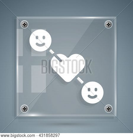 White Romantic Relationship Icon Isolated On Grey Background. Romantic Relationship Or Pleasant Meet