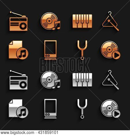Set Voice Assistant, Triangle Musical Instrument, Vinyl Disk, Musical Tuning Fork, Book With Note, S