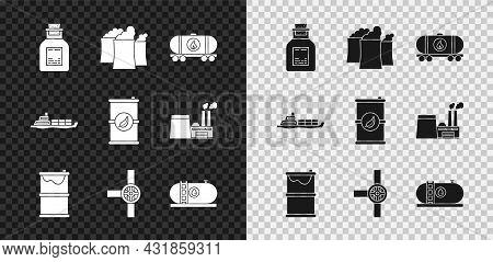 Set Oil Petrol Test Tube, Industrial Factory Building, Railway Cistern, Barrel Oil Leak, Industry Pi