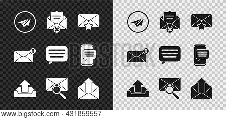 Set Paper Plane, Delete Envelope, Envelope With Star, Upload Inbox, Magnifying Glass, Outgoing Mail,