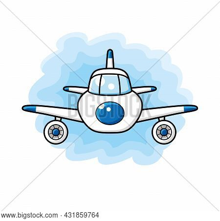 Jet Airplane In Sky Front View Cartoon Vector Icon.