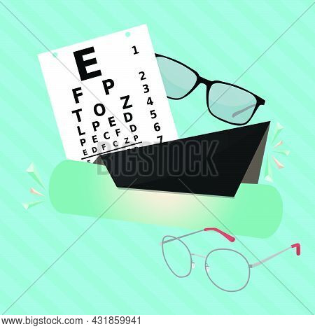 Ophthalmology Banner Template Design, Eye Test Concept Vector Illustration With Eyeglasses, Optical