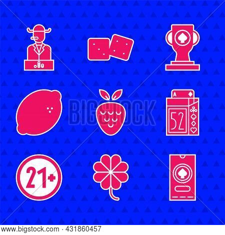 Set Casino Slot Machine With Strawberry, Clover, Poker Tournament Invitation, Deck Of Playing Cards,