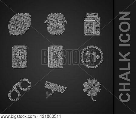 Set Playing Card With Diamonds, Security Camera, Casino Slot Machine Clover, 21 Plus, Handcuffs, Kin