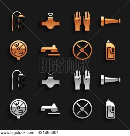 Set Water Tap, Industry Metallic Pipe, Container With Drain Cleaner, Valve, Meter, Rubber Gloves, Sh