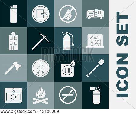 Set Fire Extinguisher, Shovel, Interior Fireplace, No, Pickaxe, Medical Hospital Building, Lighter A