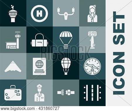 Set Airport Runway, Compass, Aircraft Steering Helm, Suitcase, Control Tower, Radar And Box Flying P