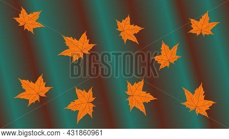 Abstract Autumn Natural Dark Green Folded Background With Fallen Bright Yellow Orange Maple Leaves.
