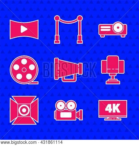 Set Megaphone, Cinema Camera, Screen Tv With 4k, Director Movie Chair, Movie Spotlight, Film Reel, M