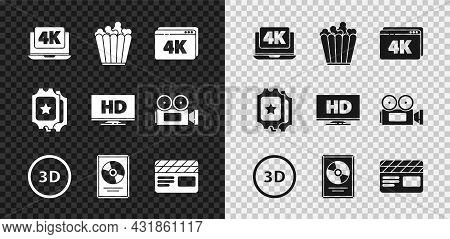 Set Laptop With 4k Video, Popcorn In Box, Online Play, 3d Word, Cd Disk Award Frame, Movie Clapper,