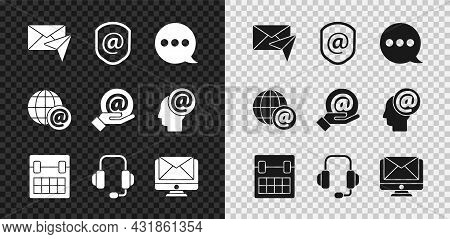 Set Envelope, Shield With Mail And E-mail, Speech Bubble Chat, Calendar, Headphones, Monitor Envelop