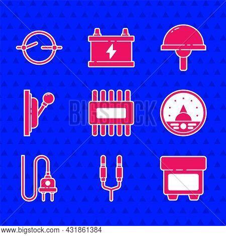 Set Processor With Microcircuits Cpu, Audio Jack, Fuse, Ampere Meter, Multimeter, Voltmeter, Electri