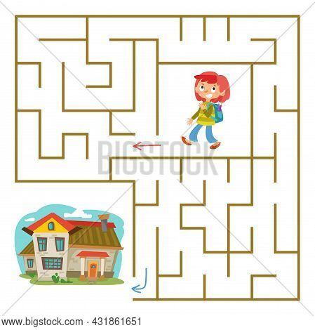 Red-haired Schoolgirl With A Backpack Goes Home Through The Labyrinth. Square Maze. A Maze For A Chi