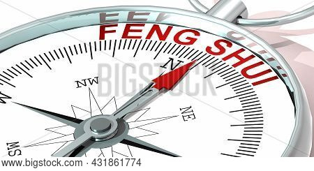 Metal Compass With Feng Shui Word, 3d Rendering