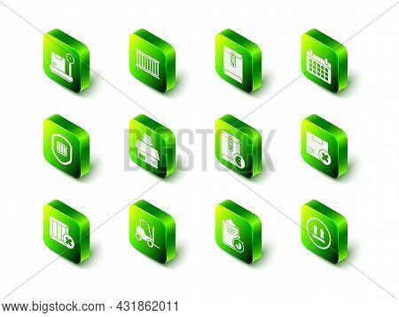 Set Container, Envelope, Calendar, Carton Cardboard Box And Delete, This Side Up, With Euro Symbol,