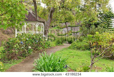 Kula Botanical Garden. Maui. Hawaii. White gazebo. Tropical landscape. poster