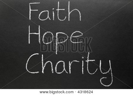Faith Hope And Charity, Three Christian Virtues From The New Testament.