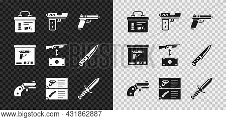 Set Military Ammunition Box, Pistol Or Gun, Small Revolver, Weapon Catalog, Knife, And Buying Assaul