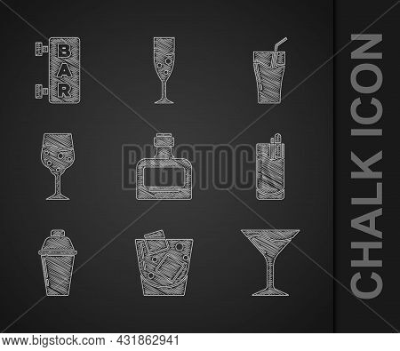 Set Whiskey Bottle, Glass Of Whiskey, Martini Glass, Cocktail Bloody Mary, Shaker, Champagne, Juice