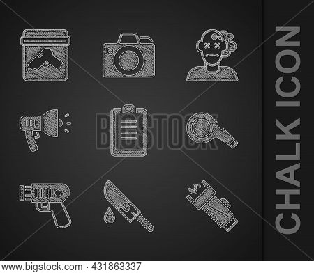Set Police Report, Bloody Knife, Electric Shocker, Whistle, Megaphone, Murder And Evidence Bag With