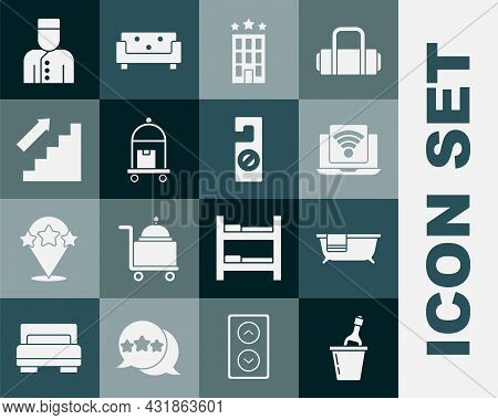 Set Champagne In An Ice Bucket, Bathtub, Wireless Laptop, Hotel Building, Suitcase, Stairs Up, Conci