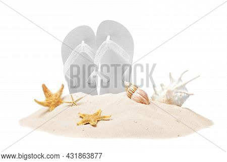 Bright Flip Flops In Sand, Starfishes And Sea Shells On White Background