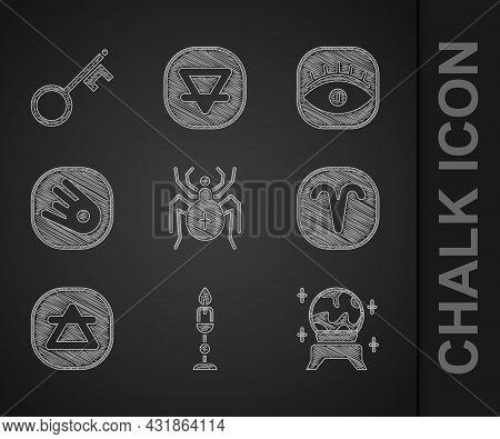 Set Spider, Burning Candle, Magic Ball, Aries Zodiac, Air Element, Comet Falling Down Fast, Masons A