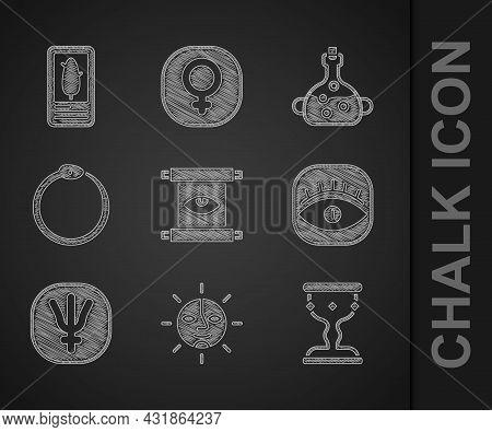 Set Ancient Magic Scroll, Sun, Medieval Goblet, Masons, Neptune Planet, Ouroboros, Poison In Bottle