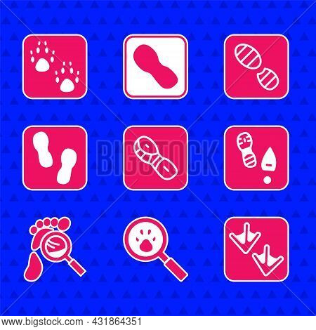 Set Human Footprints Shoes, Paw Search, Goose Paw, Magnifying Glass With Footsteps, And Icon. Vector