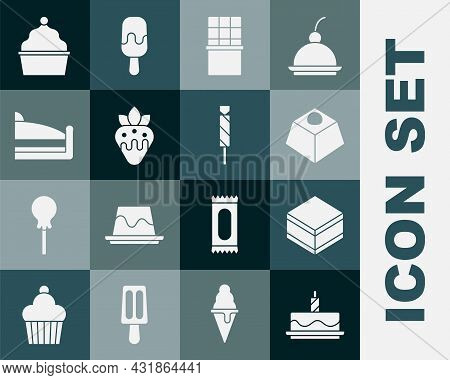Set Cake With Burning Candles, Brownie Chocolate Cake, Chocolate Bar, Strawberry, Piece Of, And Cand
