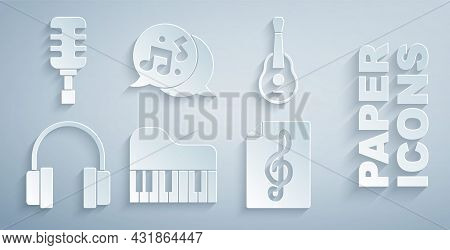 Set Grand Piano, Guitar, Headphones, Treble Clef, Music Note, Tone And Microphone Icon. Vector