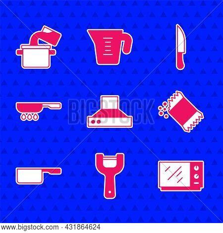 Set Kitchen Extractor Fan, Vegetable Peeler, Microwave Oven, Packet Of Pepper, Saucepan, Frying, Kni
