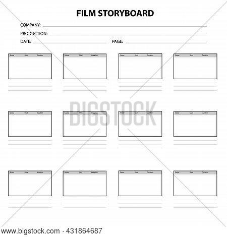 Professional Film Storyboard On White Background. Scenario For Media Production. Film Storyboard Tem