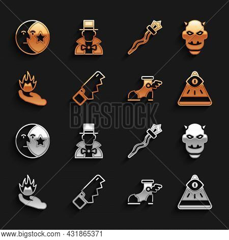 Set Hand Saw, Mask Of The Devil With Horns, Masons, Hermes Sandal, Holding Fire, Magic Staff, Moon S