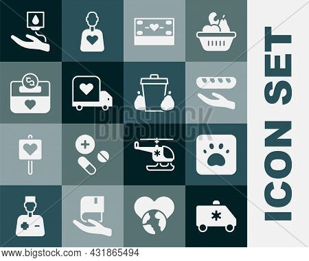 Set Emergency Car, Paw Print, Donation Food, And Charity, Delivery Truck With Heart, Blood Donation