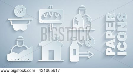Set Real Estate, Homeless, Growth Of Homeless, Reception Glass Bottles, Donation Food And Money Icon