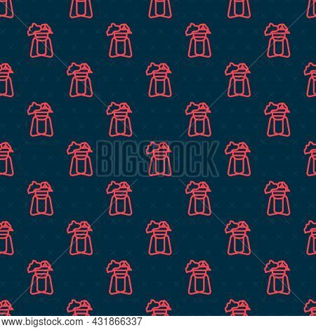 Red Line Potted House Plant On Stand Icon Isolated Seamless Pattern On Black Background. Plant Growi