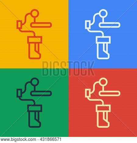 Pop Art Line Gimbal Stabilizer For Camera Icon Isolated On Color Background. Vector