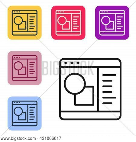 Black Line 3d Printer Software Icon Isolated On White Background. 3d Printing. Set Icons In Color Sq