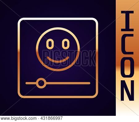 Gold Line Music Player Icon Isolated On Black Background. Portable Music Device. Vector