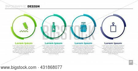 Set Sauce Bottle, Tabasco Sauce, Propane Gas Tank And Cutting Board. Business Infographic Template.