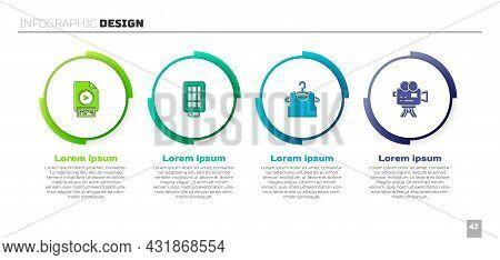 Set Mp4 File Document, Softbox Light, Sleeveless T-shirt And Retro Cinema Camera. Business Infograph