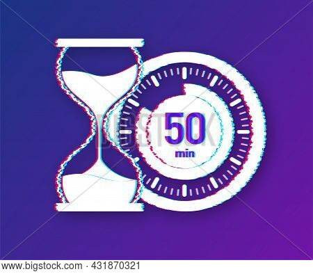 The 50 Minutes, Stopwatch Vector Glitch Icon. Stopwatch Icon In Flat Style, Timer On On Color Backgr