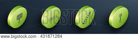 Set Isometric Line Barbecue Steel Grid, Steak Meat, Grilled Shish Kebab And Fork Icon. Vector