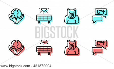 Set Line Polar Bear Head, Hand Holding Earth Globe, Solar Energy Panel And Global Warming Icon. Vect