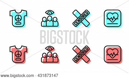 Set Line Censored Stamp, Peace, Spy, Agent And Heart Rate Icon. Vector