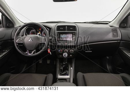 Novosibirsk, Russia - August 20, 2021:  Mitsubishi Asx, Steering Wheel, Shift Lever, Multimedia  Sys